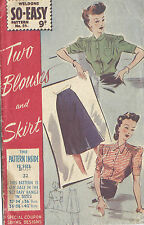 1940s WW2 Vintage Sewing Pattern B32 BLOUSE & SKIRT (1362R)