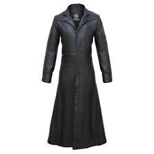 iCJJL 2019 Mens Faux Leather Long Trench Coat The Matrix Neo Long Jacket Coat Gothic Winter Jacket S-5XL