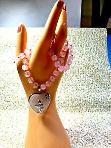 GALILEA ROSE QUARTZ -HEART ROSE NECKLACE SILVERTONE PENDANT & NECKLACE 20 IN.