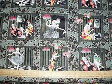 Cotton Fabric Dance Romance Couple floral Vintage Flapper BLOCKS  28 squares BTP