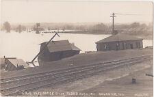 RPPC,Savanna,IL.C.B.& Q.R.R.Offices After Flood of Aug.11,1911,Madsen Bros Photo