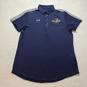 Under Armour Polo Shirt Womens Size L Blue Heat Gear CHCA Golf Collared Athletic