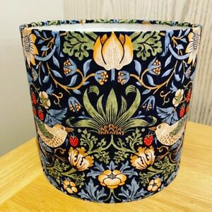 Handmade Lampshade In William Morris Strawberry Thief Navy ceiling or lamp