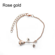 2018 Elegant Women's Letter Bangle Rose Flower Bangle Cuff Bracelet Jewelry Gold