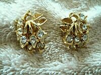 Vintage CORO Clip Earrings, Gold Tone Metal, Clear Crystals, Leaf Design