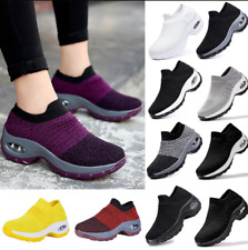 Women's Shoes Casual Breathable Wedge Sneakers Deportivas Mujer Black Trainers
