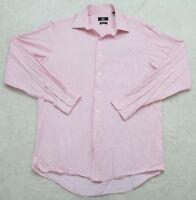 Calvin Klein Pink White Dress Shirt 15.5 34/35 Striped Long Sleeve Medium Cotton
