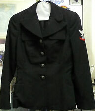 US NAVY WOMEN'S DRESS BLUE COAT OLD STYLE POLY/WOOL E4 CULINARY SPC 7R PRE OWN