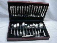 Set 85 pcs Rogers & Bro Daybreak Silverplate Flatware Elegant Lady w/Chest/Box