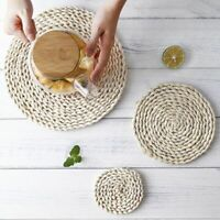 Woven Placemat Round Table Place Mats Heat Insulation Non Slip 11/20/30/40cm