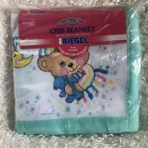 "Vintage Riegel Teddy Beddy Baby Blanket PJ Bear Green Satin Trim 36x45"" USA"