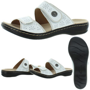 Clarks Leisa Lacole Women's Leather Perforated Cushioned Slide Sandals