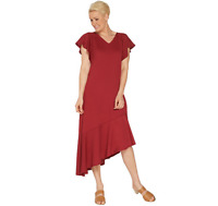 Isaac Mizrahi Live! Pebble Knit Dress with Asymmetric Hem Rumba Red Petite 1X