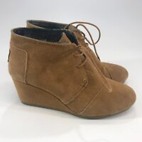 Toms Womens Brown Suede Wedge Ankle Boots Lace Up Size 10