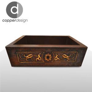 "Copper Apron/Farmhouse Kitchen Sink Design #01  22""x16""x7"" NO CUSTOM DUTIES"