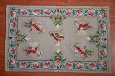 2' X 3' Vintage Monkey Flower Needlepoint Rug #10