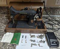 Singer 128 Centennial 1951 Vintage Sewing Machine w Case Key Manual Tested Works