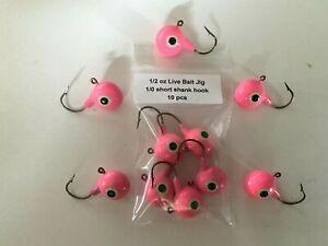 10 GLOW Pink 1/2 oz Live Bait Jig Heads Short Shank 1/0