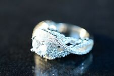 Ring, Carved Silver, Size 5 925 Silver Cz Cocktail or Engagement