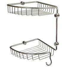Double Corner Soap Shower Basket Bathroom Chrome Wire Work Accessories F004
