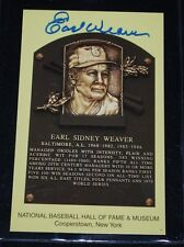 Earl Weaver Signed Yellow HOF Plaque Postcard-NM