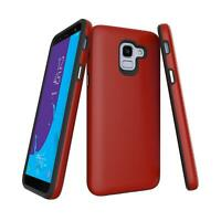 For Samsung Galaxy J6 2018 J600F Fibre Shock Proof Phone Case Cover - Red Carbon