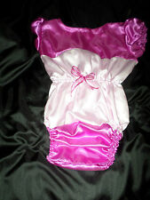"ADULT BABY SISSY all-in-one DEEP PINK + BABY SATIN  romper 52"" CHEST SLEEPSUIT"