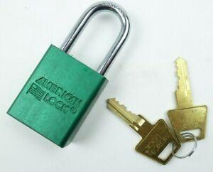 New American Lock Padlock 1100 Series Master Lock 2 Keys Steel Green Security