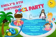 Diy Print Custom Girl Summer Pool Party Birthday Party Invitations