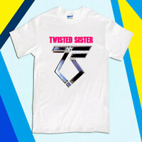 New Twisted Sister Heavy Metal Band Logo Men's Black White T-Shirt Size S to 2XL