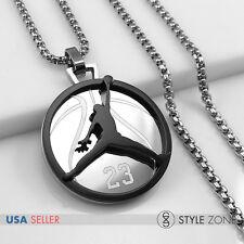 Stainless Steel Jordan # 23 & JUMPMAN Logo Pendant Round Box Necklace Black 13F
