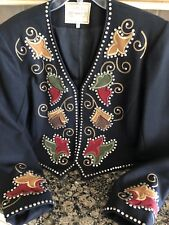 Double D Ranch Wear Ladies Studded Floral Black Jacket, Medium. Mint! No Issues!