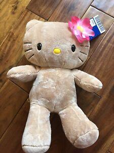 Tan Hello Kitty Build A Bear NEW Collector MINT Tropical Hawaii Flower Rare