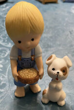 vintage Enesco collectible figurine 1981 boy with dog holding food bowl