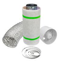 "Ventilation 6"" Carbon Filter Kit Odour Extraction Fan Aluminium Duct Hydroponics"