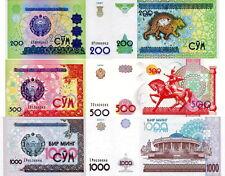 UZBEKISTAN - Lot Lotto 3 banconote 200/500/1000 Sum FDS - UNC