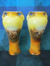 2 HAND PAINTED MATCHING PORCELAIN VASES - UNKNOWN MAKER - VGC