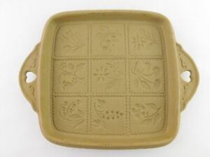 Brown Bag Cookie Art 1988 Hill Design Pottery Cookie Baking Tray Herbs Flowers
