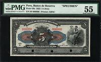 PERU - 1922 - 5 LIBRAS - PMG AU55 - SPECIMEN - P50S - SERIES B1