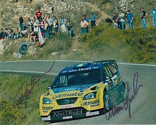 Marcus Gronholm and Timo Rautiainen Hand Signed 10x8 Photo Ford Rally.