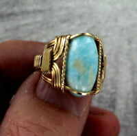 Larimar Gemstone Ring in  14kt Rolled Gold    Size 5 to 15   Wire Wrapped