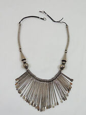 "Long Silver Bib and Cone Beaded 22"" Necklace"
