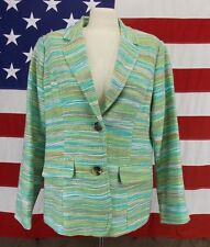 COLDWATER CREEK Jacket Lime Green Stripes Vintage Women's  Size 14