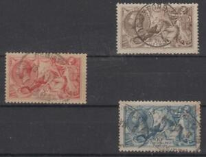 GB  1918-19, Seahorses short set of 3, lightly used