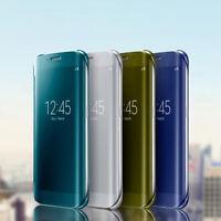 para Samsung Galaxy S7 S7 Borde Funda De Lujo Fino ESPEJO LIBRO teléfono