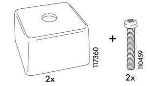 2x Ikea Manstad Sofa Legs Plastic Black + 2 Mounting Bolts Part # 117360 110459