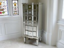 Venetian Mirrored 6 Drawer Silver Tall Boy Chest - Narrow Tall Storage