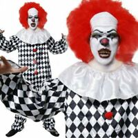 Adult Killer Scary IT Pennywise Clown Fancy Dress Halloween Costume & Make up