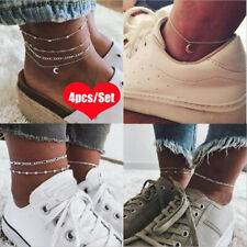 4pcs/pack Silver Ankle Bracelet Women Anklet Adjustable Chain Foot Beach Jewelry