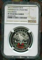 2013 CANADA $10 PARTRIDGE IN A PEAR TREE - NGC PF70 UC /w ALL PACKAGING - SILVER